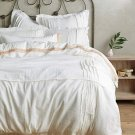 Anthropologie Daloni King Duvet White Pleated Linen Cotton Blend Machine Wash