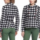 $198 Anthropologie Ortley Houndstooth Coat 4 XSmall Black + White Wool