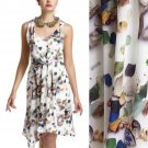 $188 Anthropologie Castaway Dress 8 Medium Cream Print Shells Driftwood INCREDIBLE