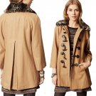 Anthropologie Leopard Collar Melton Jacket 12 Large Coat Beige