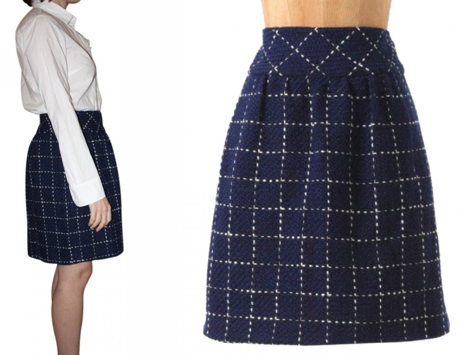 Anthropologie Converging Bits Wool Skirt 10 Large Navy Blue by Maeve