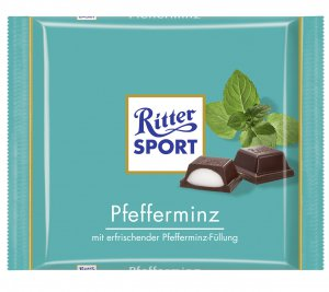 RITTER SPORT Chocolate Bar - Pfefferminz - 100 g - from Germany- FRESH from Germany