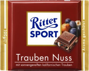 RITTER SPORT Chocolate Bar - Trauben Nuss - 100 g - from Germany- FRESH from Germany