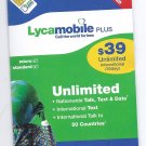 Lycamobile dual sim card pre-loaded with $39 plan