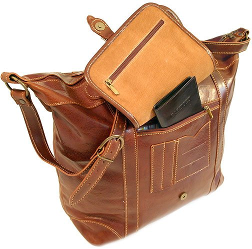 Floto Italian Leather Tack Duffle bag in Vecchio Brown