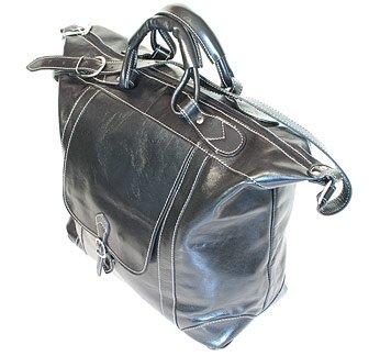 Floto Italian Leather Tack Duffle bag in Black