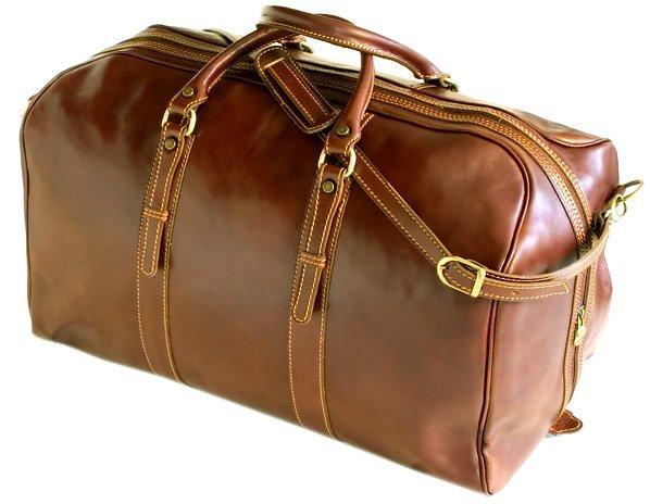 Floto Venezia Leather Grande Duffle in Vecchio brown