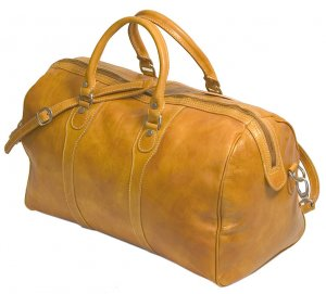 Floto Milano Italian Leather duffle bag in Olive Brown