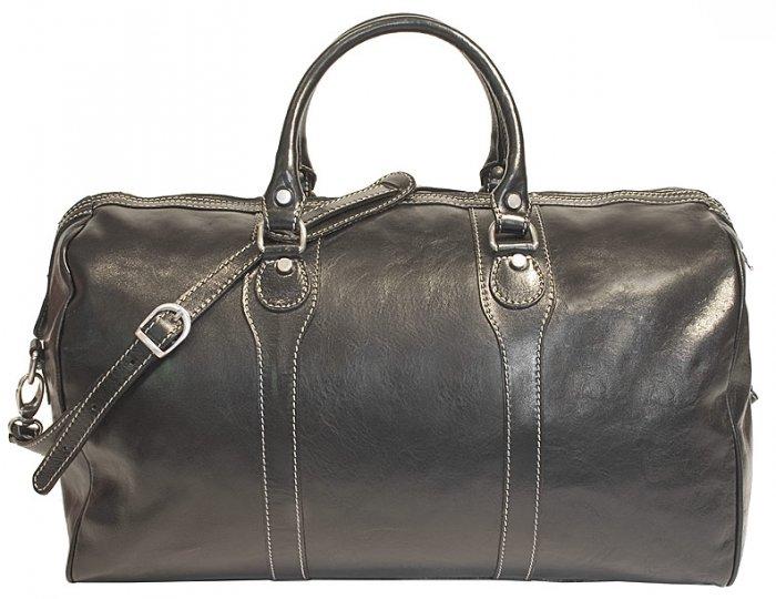Floto Milano Italian Leather duffle bag in Black