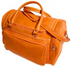 Floto Torino Italian Leather Duffle bag in Orange