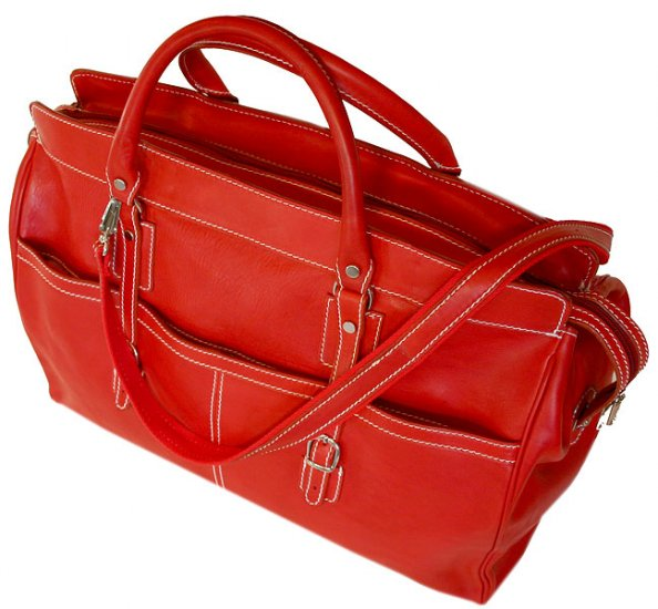 Floto Casiana Italian Leather Travel Tote bag in Tuscan Red