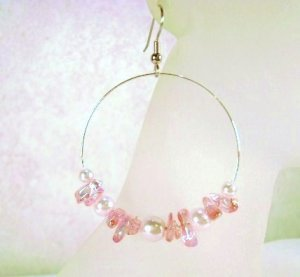 Pink Glass Beaded Earrings