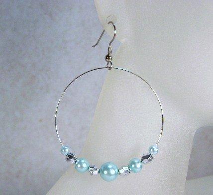 Turquoise Pearl Glass Beaded Large Hoop Earrings