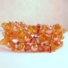 Red-Orange Glass Beaded Bracelet - see pics