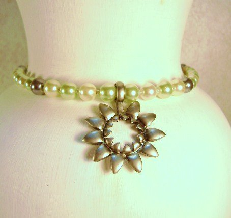 Spring green and Light Yellow Glass Pearl & Sunflower Pewter Pendant