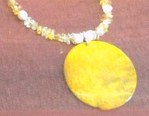 Yellow glass pearl and chip bead Necklace with Large Mother of Pearl Pendant