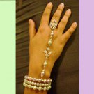 Pastel Green and Lavender Glass Pearl beaded Slave Bracelet