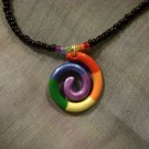Black and Rainbow Beaded Necklace with Handmade Spiral Pendant