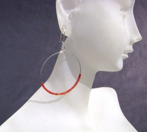 Red seed bead hooped earrings