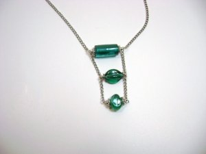 Chain necklace with Teal focal beads