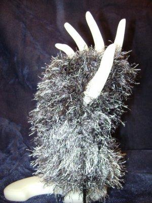 Black & Gray Fun Fur Fingerless Gloves - Handmade!