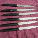 6 Steak Knives With Gold Color Trim marked REO CREST (wtnk66)