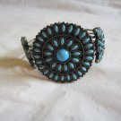 "Southwest Sunburst Turquoise Color Stone and Silver Tone Metal Cuff Bracelet 2 5/8"" wide (b 75)"