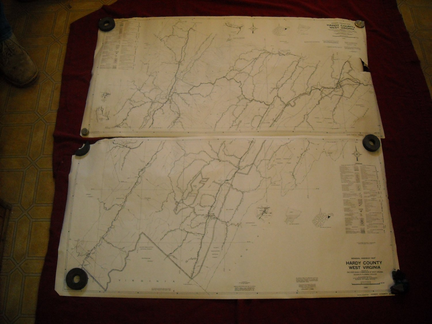 Hardy County West Virginia 1961 set of 2 General Highway Map