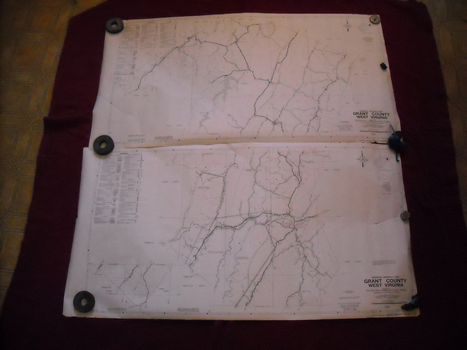 Grant County West Virginia 1962 set of 2 General Highway Map
