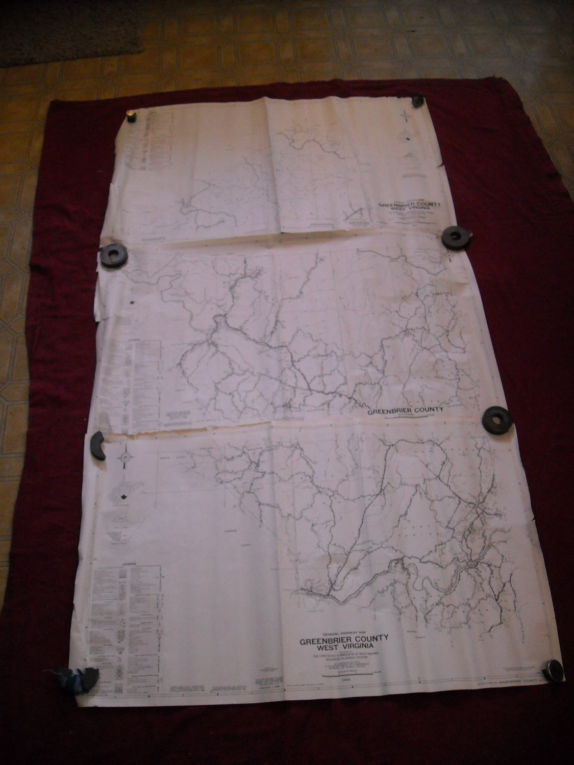 GreenBrier County West Virginia 1959 set of 5 General Highway Map