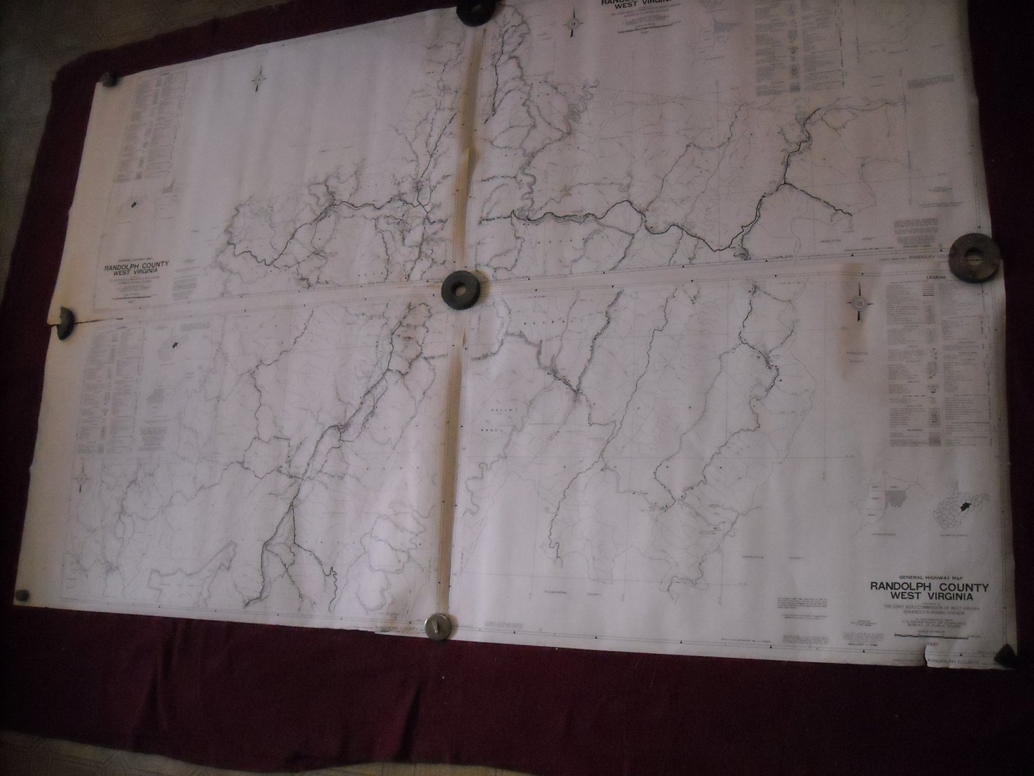 Randolph County West Virginia 1961 set of 5 General Highway Map