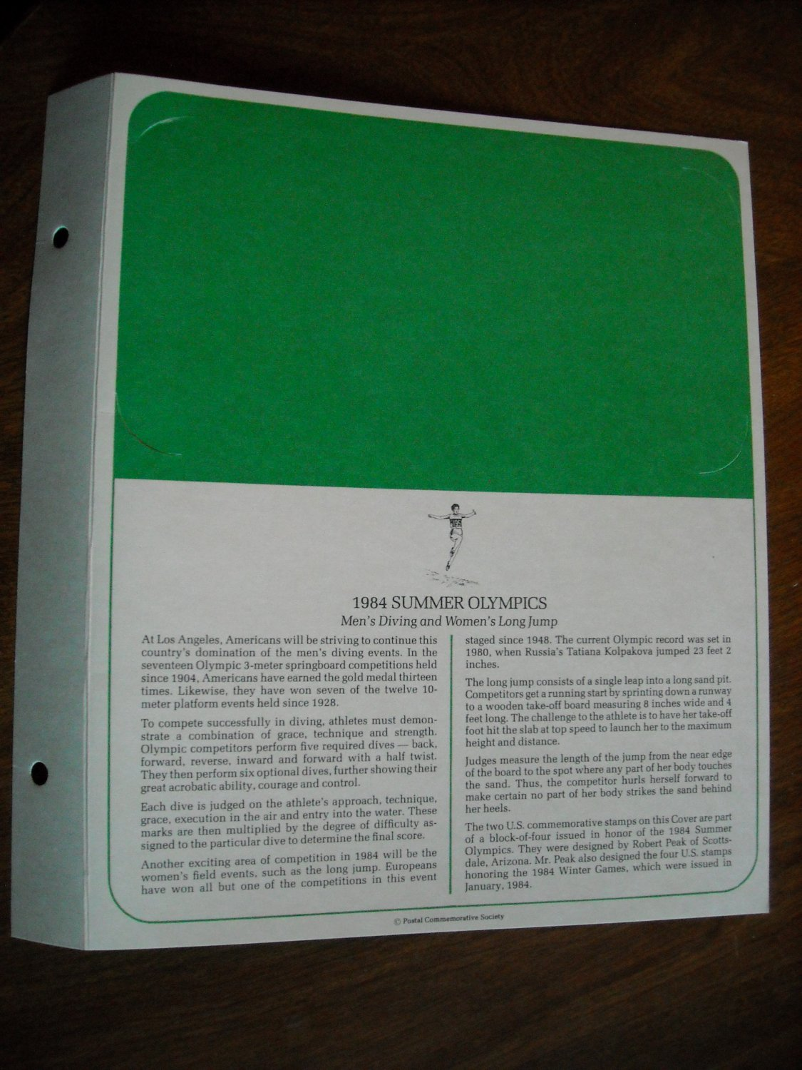 1984 Summer Olympics Men's Diving and Women's Long Jump First Day Cover Display Page (no envelope)