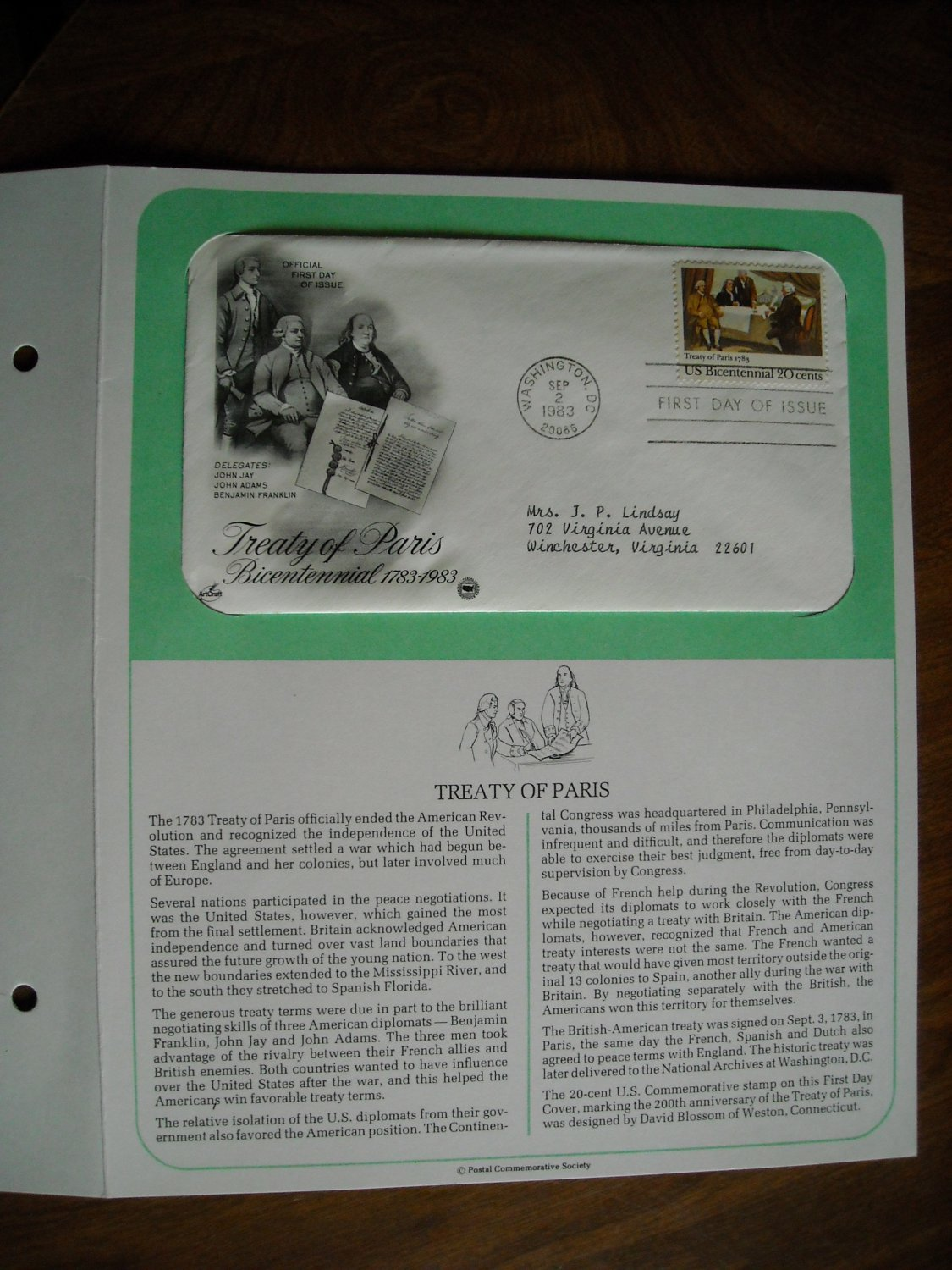 Treaty of Paris Bicentennial 1783 - 1983 Postal Commemorative Society First Day Cover Sheet