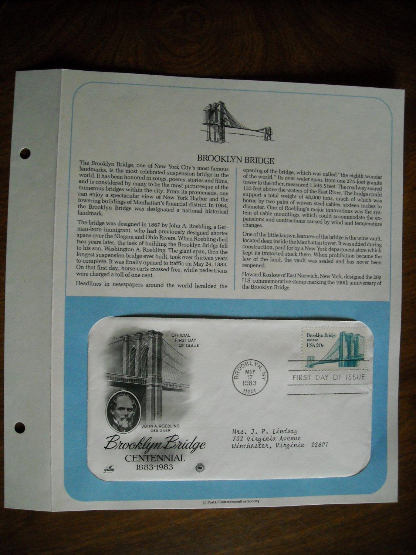 Brooklyn Bridge Centennial 1883 - 1983 Postal Commemorative Society First Day Cover Sheet