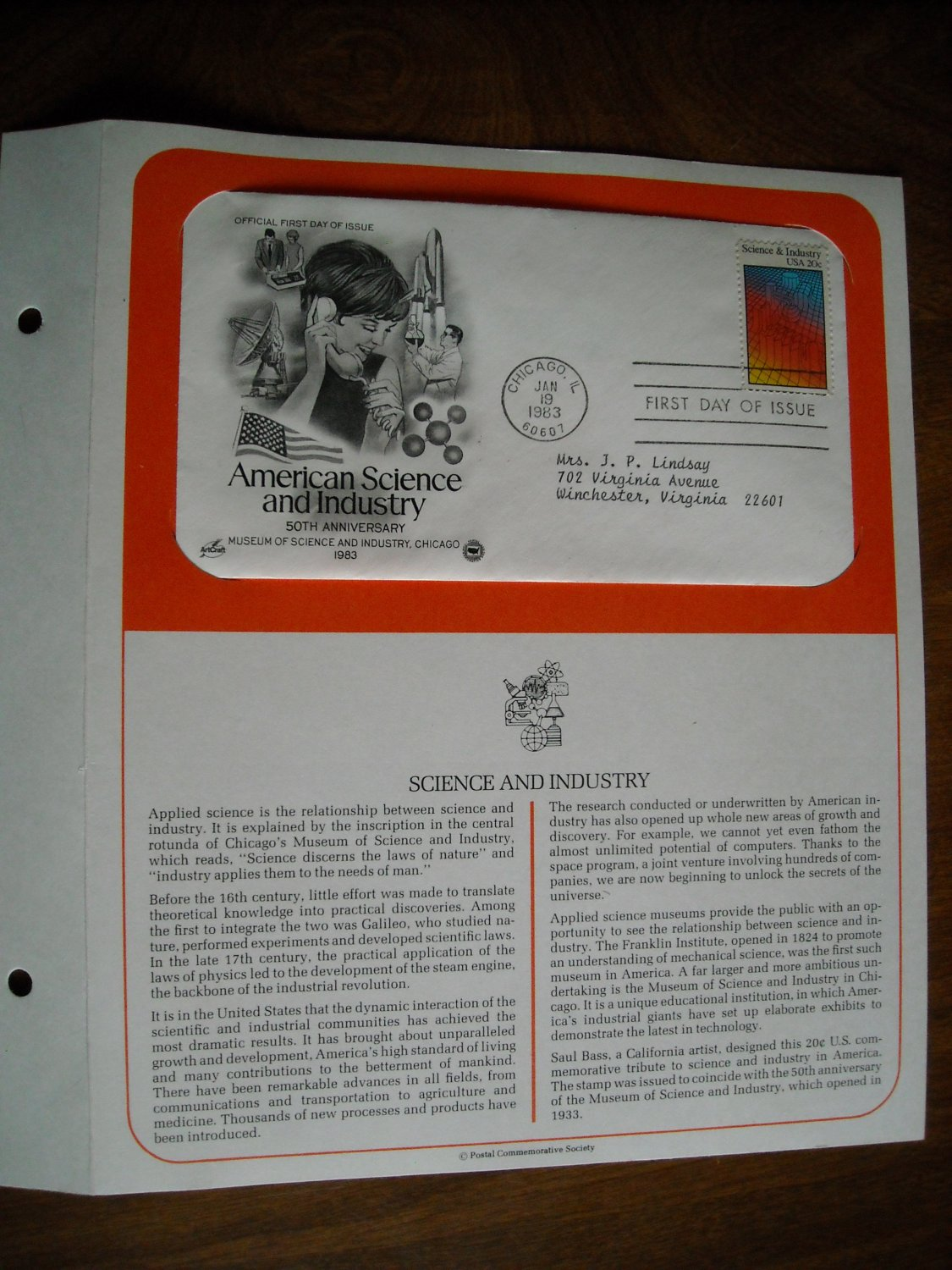 American Science and Industry 1983 Postal Commemorative Society First Day Cover Sheet