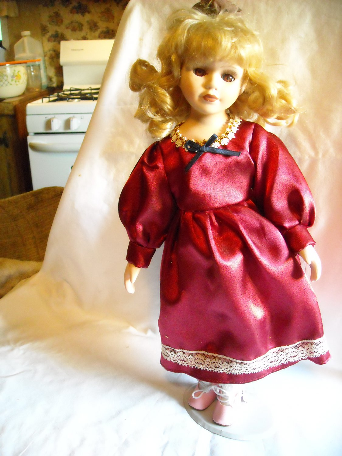 """Porcelain Doll with Stand in Maroon Dress with White Lace 15"""" Tall"""