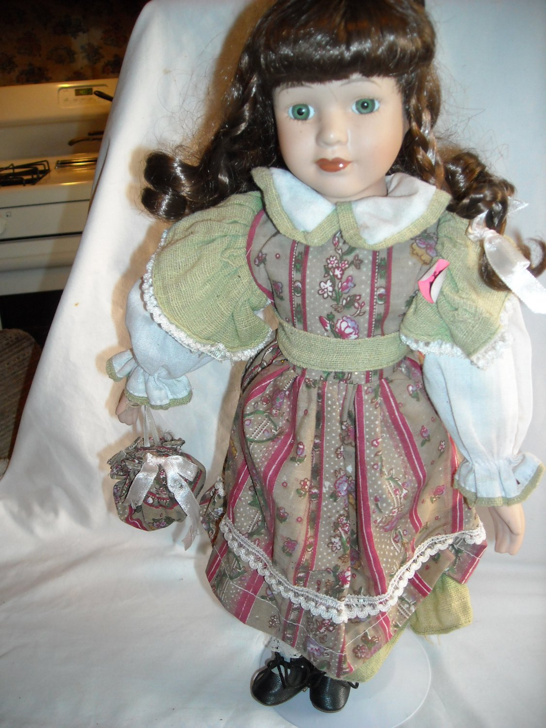 """Porcelain Doll with Stand in Flowered and Striped Dress Auburn Hair 15"""" Tall"""