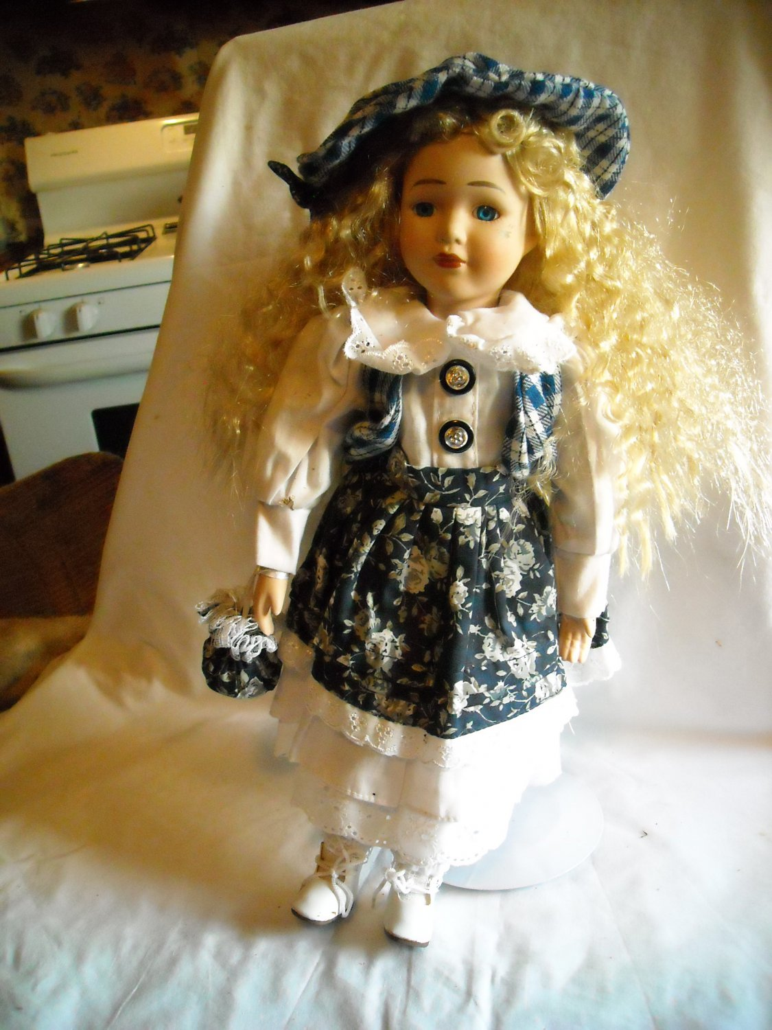 "Porcelain Doll with Stand in Blue Flowered Dress Blonde Hair 15"" Tall"