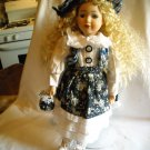 """Porcelain Doll with Stand in Blue Flowered Dress Blonde Hair 15"""" Tall"""
