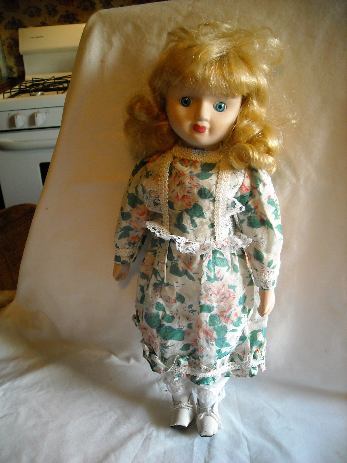 "Porcelain Doll White and Green with Pink Flower Dress 15"" Tall"