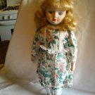 """Porcelain Doll White and Green with Pink Flower Dress 15"""" Tall"""