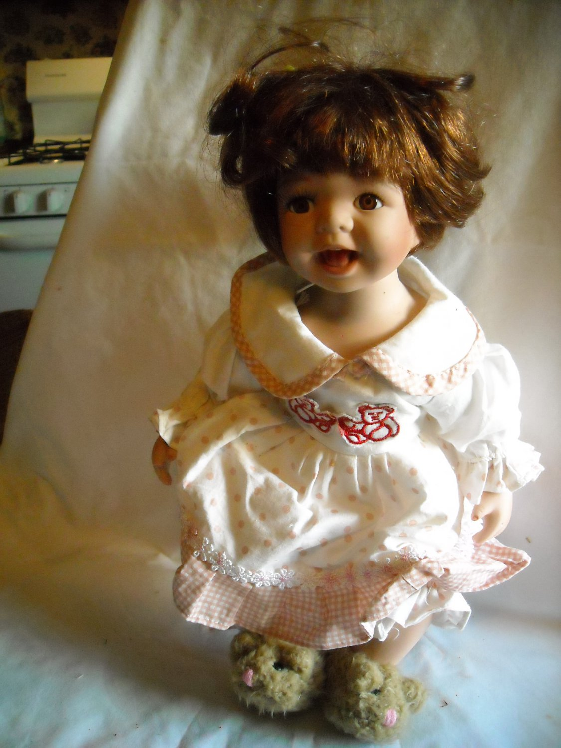 """Duck House Heirloom Porcelain Doll White Dress with Pink Polka Dots 14"""""""