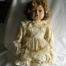"""Bubble Baby Porcelain Doll with White Wooden Stool 14"""" tall"""