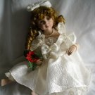 Porcelain Doll in Bridal Gown Sitting with Legs to side
