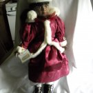 "Christmas Porcelain Doll African American in Maroon and White Outfit 18"" tall"