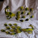 Pair of Lime and Green Color Pressed Tin Peacocks Wall Decor 1960's (GB1)