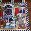 Quilted Welcome Flag with Home Front Scene Cat and Door with Wreath and American Flags (CMB1)