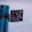 Silver Tone & Dark Tones Square Ring w/ Flowers and Purple Stones Ring Size is Adjustable (r 1)