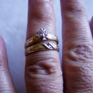 Engagement and Wedding Band Set Christian Cross Gold 10kt Size 6.5 Ring (r 7)