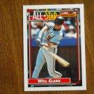 Will Clark All Star National League First Baseman Card No. 386 - 1992 Topps Baseball Card